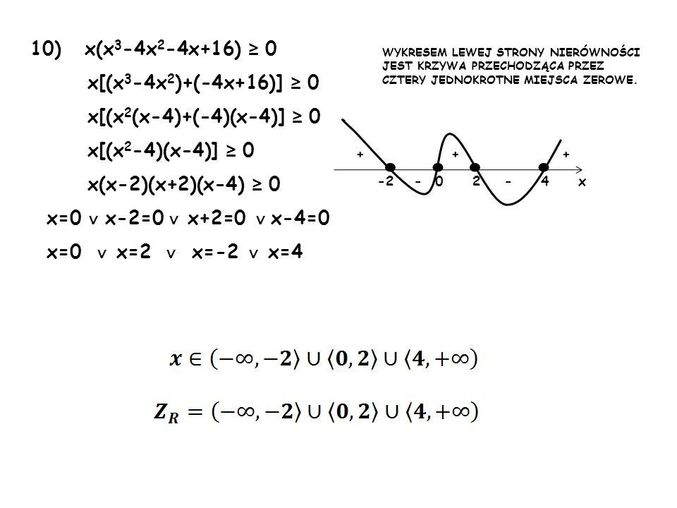 • • • • 10) x(x3-4x2-4x+16) ≥ 0 x[(x3-4x2)+(-4x+16)] ≥ 0